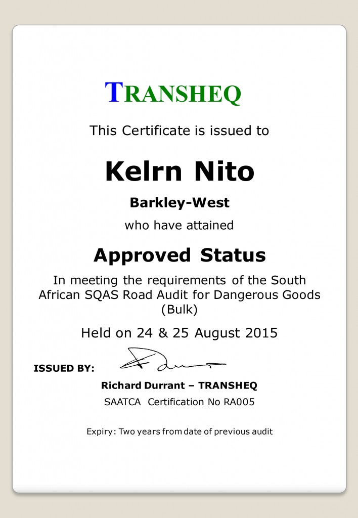 Kelrn Nito - SQAS Approved Supplier Certificate Aug 2015